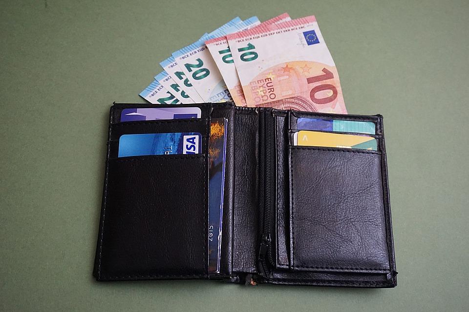 peněženka s eury